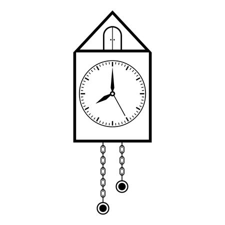 Clock. Retro pendulum clock. Outline drawing Vector illustration.