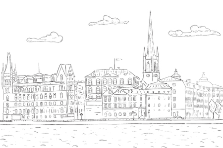 Old city of Stockholm, lake view. Hand drawn sketch Standard-Bild - 98643551
