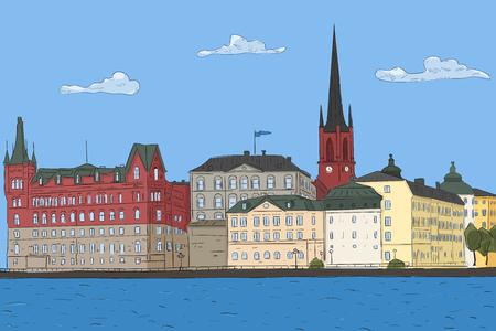 Old city landscape Stockholm Vector illustration Stock Vector - 98558798