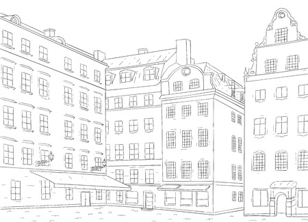 Stortorget square in old city of Stockholm. Hand drawn sketch Stock Illustratie