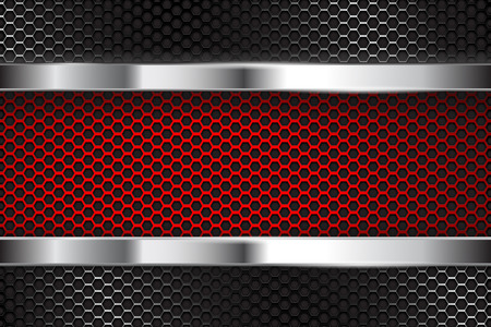 Metal perforated background with red banner Vector illustration. Çizim