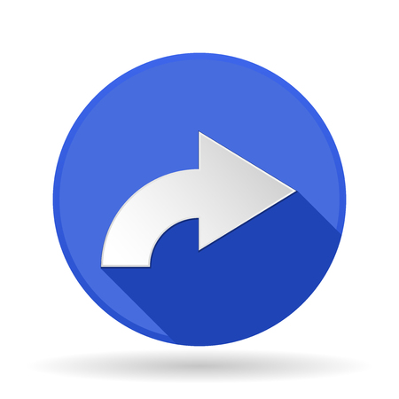 Arrow icon. Blue round sign with shadow. Right arrow