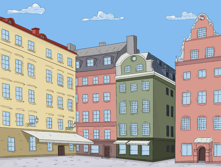 Old city view. Colored houses. Stortorget square in Stockholm. Vector illustration Illustration
