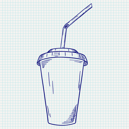 Plastic cup with drinking straw. Takeaway drink. Hand drawn sketch Vector illustration.
