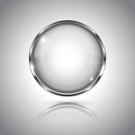 White round button with chrome frame. With reflection