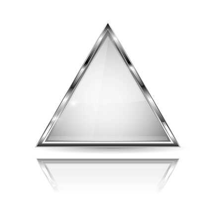 White glass 3d button with metal frame. Triangle shape. With reflection on white background. Vector illustration