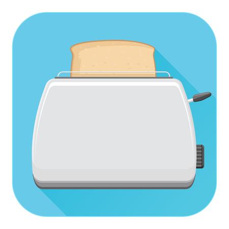 Toaster. Flat design. Blue square icon 向量圖像