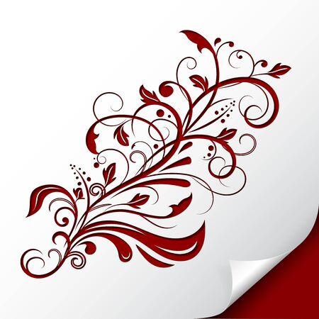 Decorative floral branch. Embossed red ornamental illustration. On paper sheet. Vector illustration