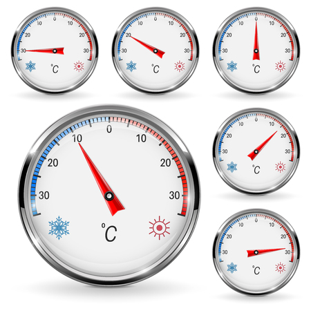Thermometers. Round gauge with chrome frame Stock Illustratie