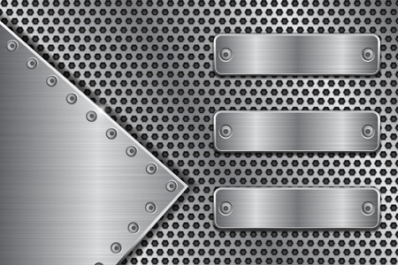Metal perforated background with brushed iron plates. Vector 3d illustration Çizim
