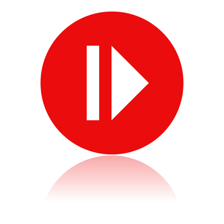 PAUSE icon. Round red icon with reflection