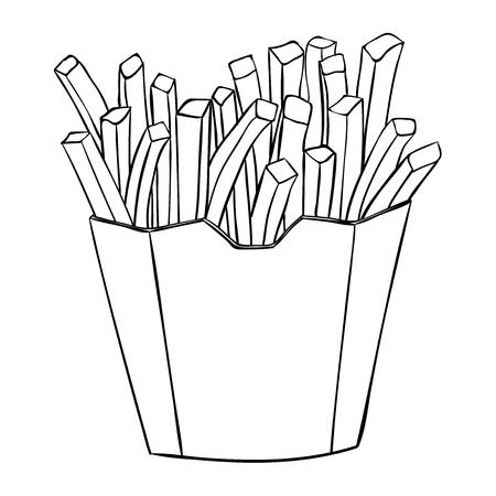 Patate fritte in un bicchiere di carta. Disegno in bianco e nero. Illustrazione vettoriale isolato su sfondo bianco Vettoriali