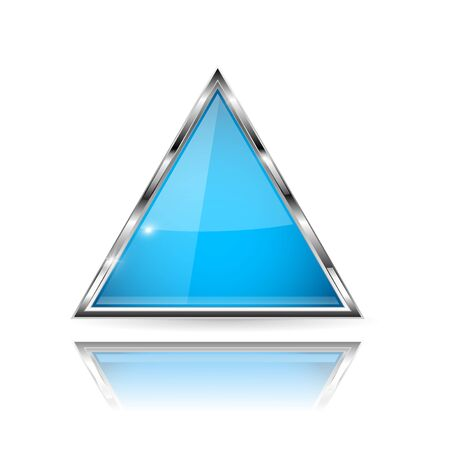 Blue glass 3d button with metal frame. Triangle shape. With reflection on white background. Vector illustration
