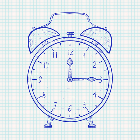 Retro alarm clock. Hand drawn sketch on lined paper. Quarter past twelve. Vector illustration