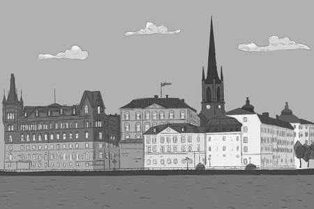 Old city of Stockholm, lake view. Hand drawn sketch. Grayscale vector illustration Standard-Bild - 99226718
