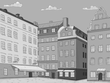 Stortorget square in old city of Stockholm. Hand drawn sketch. Grayscale vector illustration