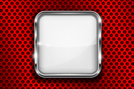 Square glass 3d icon with metal frame. Vector illustration Illustration