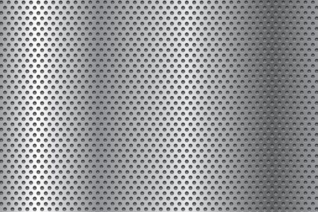 Metal perforated background. Gray Vector 3d illustration