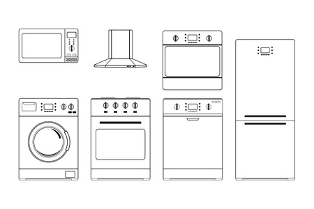 Home appliances. Outline drawings. Vector illustration isolated on white background