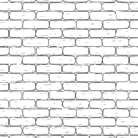 Brick wall background. Black and white texture. Vector illustration