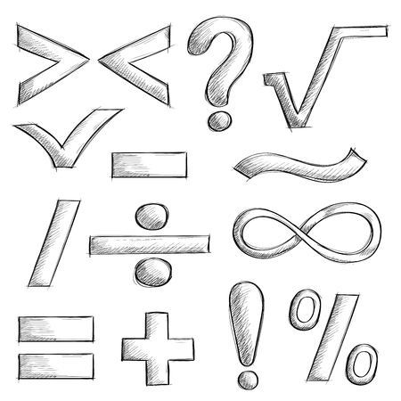 Mathematics and punctuation symbols. Hand drawn sketch Illustration