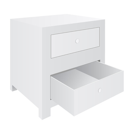 White nightstand with two drawers. Bedroom furniture Vector illustration.