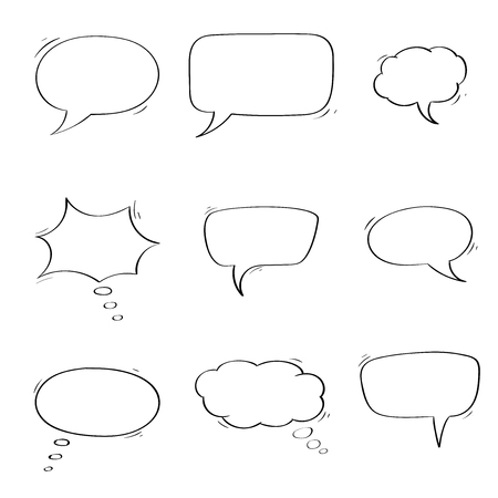 Speech bubbles. Chat symbols. Outline icons. Vector illustration isolated on white background Ilustracja