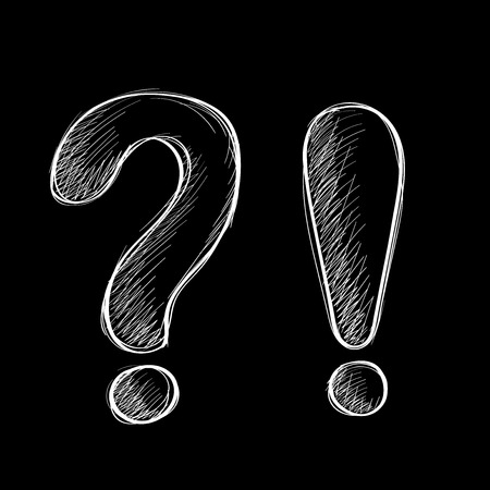 Question and exclamation marks. Hand drawn sketch. White chalk signs on black background. Vector illustration Çizim