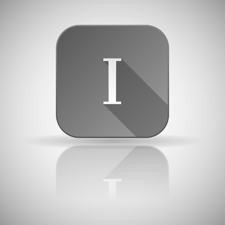I roman numeral. Grey square icon with reflection. Vector illustration