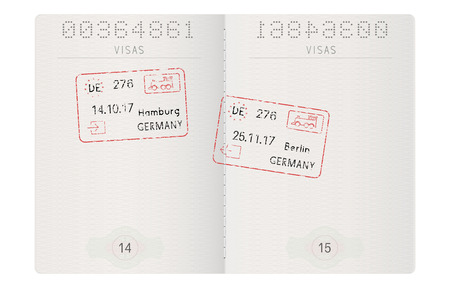 Passport pages with german stamps. Hamburg and Berlin ink stamps Illustration