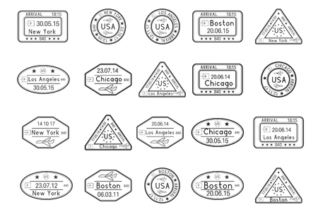 Passport stamps. Arrival to USA cities. Black set of ink stamps