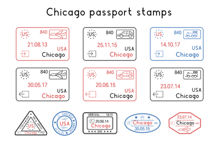 Passport stamps. Chicago, USA. Arrival and departure by car, train, plane. Set of colored stamps