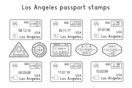 Passport stamps. Los Angeles, USA. Arrival and departure by car, train, plane. Set of black stamps. Vector illustration isolated on white background