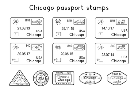 Passport stamps. Chicago, USA. Arrival and departure by car, train, plane. Set of black stamps. Vector illustration isolated on white background Vettoriali