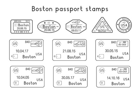Passport stamps. Boston, USA. Arrival and departure by car, train, plane. Set of black stamps. Vector illustration isolated on white background