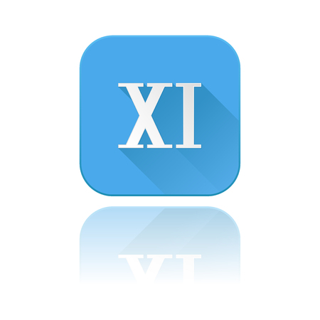 Blue icon with XI roman numeral. With reflection. Vector illustration on white background