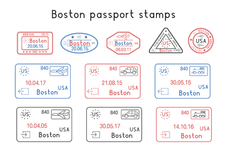 Passport stamps. Boston, USA. Arrival and departure by car, train, plane. Set of colored stamps. Vector illustration isolated on white background