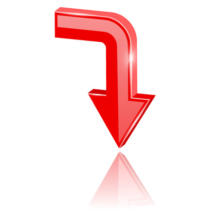 Red 3d arrow, moving down. Vector illustration