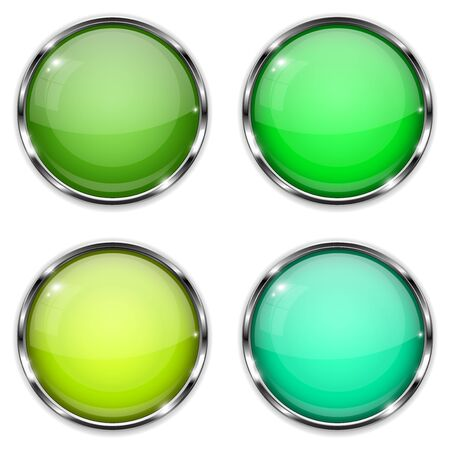 Glass buttons. Green and yellow round 3d buttons with chrome frame. Vector illustration isolated on white background