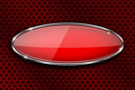 Glass red button on metal perforated background. Oval 3d button with chrome frame. Vector illustration Illustration