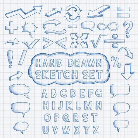 Set of hand drawn elements. Font, mathematics and punctuation symbols, arrows, speech bubbles.