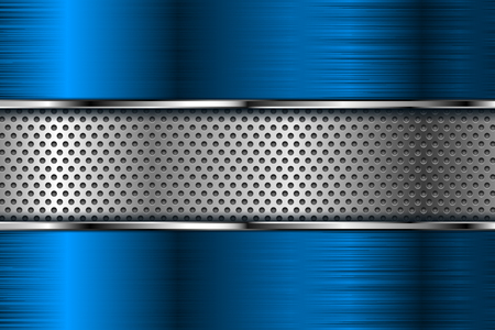 Blue metal background with perforation. Vector 3d illustration