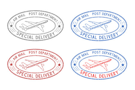 Air mail oval postmarks. Colored set. Vector illustration isolated on white background