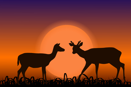 Sika deer with horns. Black silhouettes in sunset. African landscape. Vector illustration