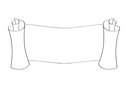 Horizontale Papierrolle . Umrisszeichnung . Vektor-Illustration isoliert auf weißem Hintergrund