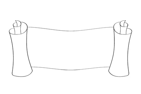 Horizontal paper scroll. Outline drawing. Vector illustration isolated on white background Vettoriali