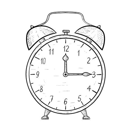 Retro alarm clock. Hand drawn sketch. Quarter past twelve. Vector illustration Illustration