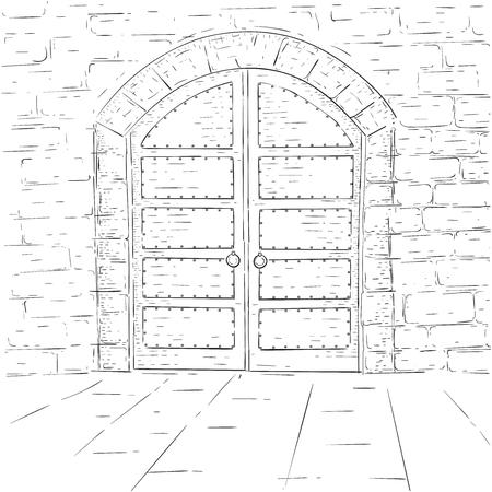 Middeleeuwse kasteeldeuren. Overzicht hand getrokken schets. Vector illustratie Stock Illustratie