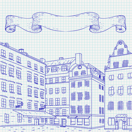 Stortorget square in old city of Stockholm. Hand drawn sketch on
