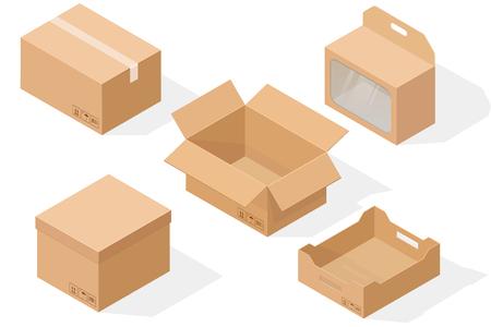 Brown paper cardboard boxes vector illustration set